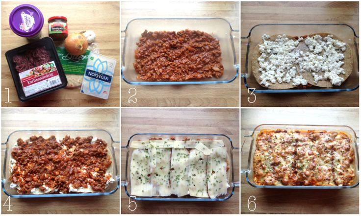 lompe lasagne: 400 g karbonadedeig 2-3 ss tomatpure 3-4 ss hakkede tomater 1 løk og 2 fedd kvitløk 2 dl vatn Krydder - eg brukte chilli, urtesalt, pepper, paprika ~ 4 speltlomper 0,5- 1 stor boks cottage cheese Ost