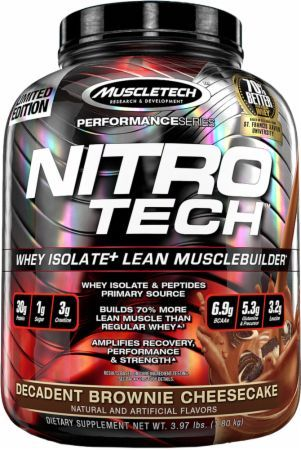 MuscleTech NITRO-TECH Decadent Brownie Cheesecake 4 Lbs. MT3690002 Decadent Brownie Cheesecake - Ultra Pure Whey Isolate Enhanced With Creatine & Aminos!
