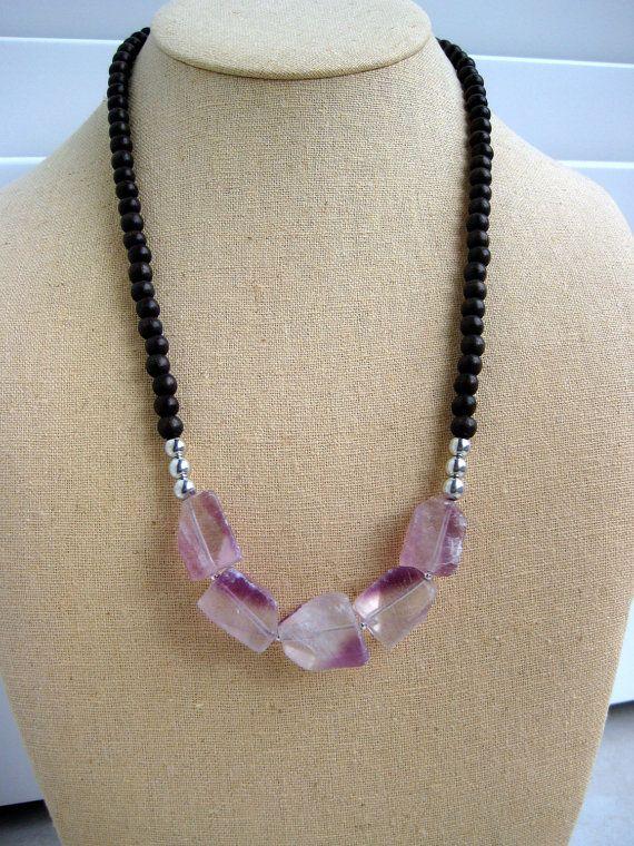 Purple Fluorite and Wood Necklace by BeadBashStudio on Etsy
