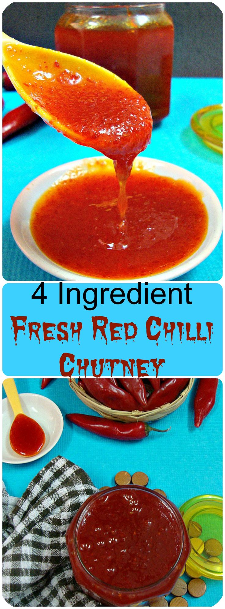 a sweet & spicy chutney  made from fresh red chillies