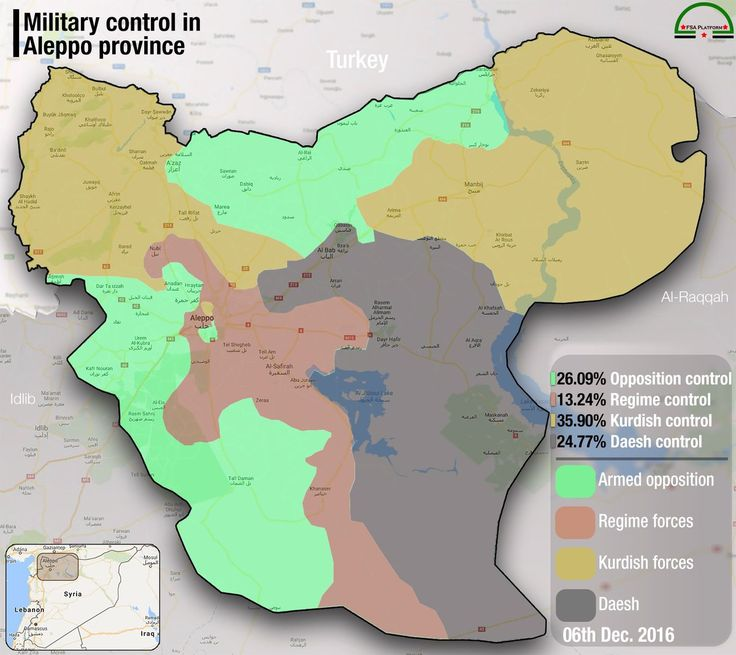Сирия, провинция Алеппо. Контроль территории на начало декабря 2016 года.