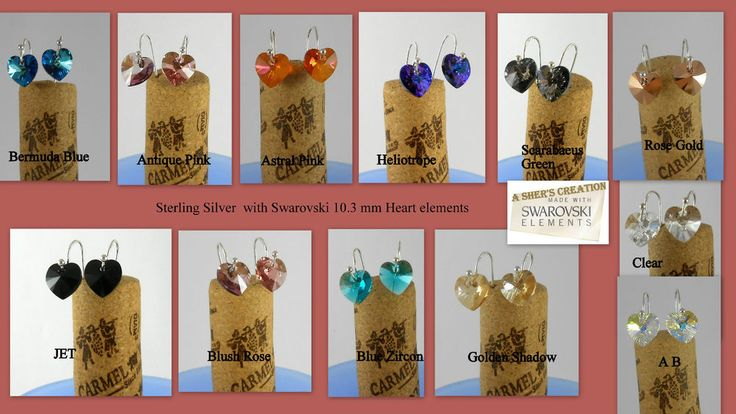 "Handmade ear wire earrings ""Ear wire & a ball"" made of 925 STERLING SILVER with genuine 10.3 mm SWAROVSKI CRYSTALS 6228 Heart pendants. Swarovski Crystal 6228 Heart pendants 10.3 mm. 