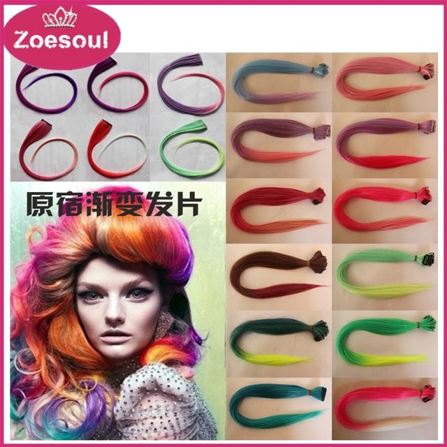 Synthetic Ombre Clip In Hair Extensions Two Tone Hair Extensions Multicolor Available,Always have your favorite color and suit you