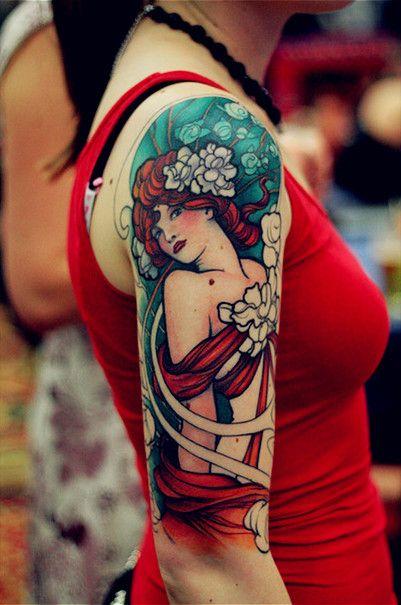 Richly coloured Art Nouveau sleeve #tattoo