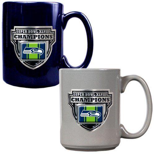 NFL Seattle Seahawks Super Bowl Champ Ceramic Mug Set (2-Piece), Blue/Gray - 12th Gear Seahawks Shop $29.99