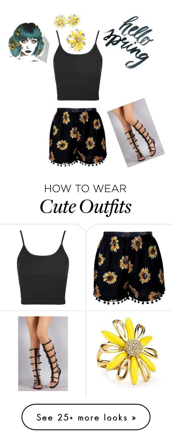 """""""Who doesn't love flowers in the spring?! Start your spring off with some flashy jewelry and a cute outfit!"""" by hunter-dillow on Polyvore featuring Topshop and Kate Spade"""