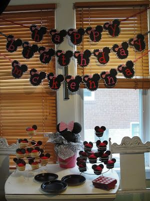 Minnie Party Banner/Decor (Zebra, Pink and Red)
