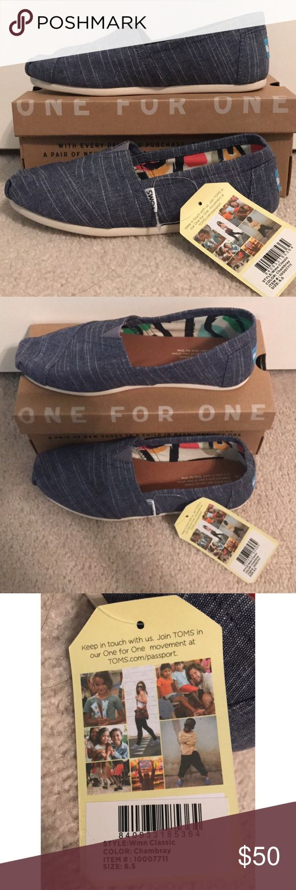 BNIB Toms Chambray Classics 🚨🚨🚨NO TRADES, NO OFFERS - FIRM PRICE. OFFERS DECLINED🚨🚨🚨 🌹brand new, never worn! Super clean.  🌹chambray/denim style, have not and will not model these for the sake of keeping them as clean and fresh as possible. TOMS Shoes Sneakers