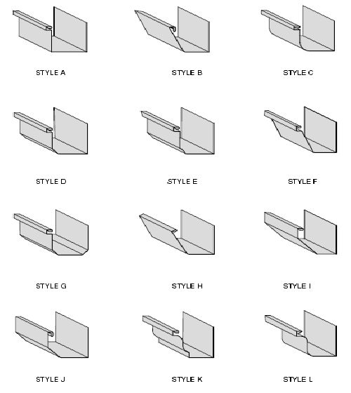 Rain Gutter Profiles Or Some Of The Standard Smacna Rain