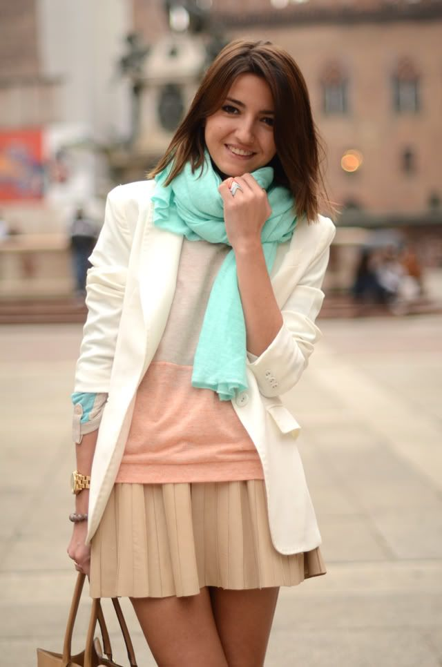 Spring outfit: cream blazer, mint scarf, light pink sweater, beige pleated skirt