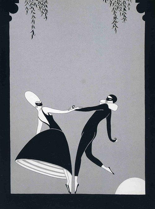 How nice to have found this after I discovered that I love Erte. New light shed... love. Pas de Deux  Erte  1986