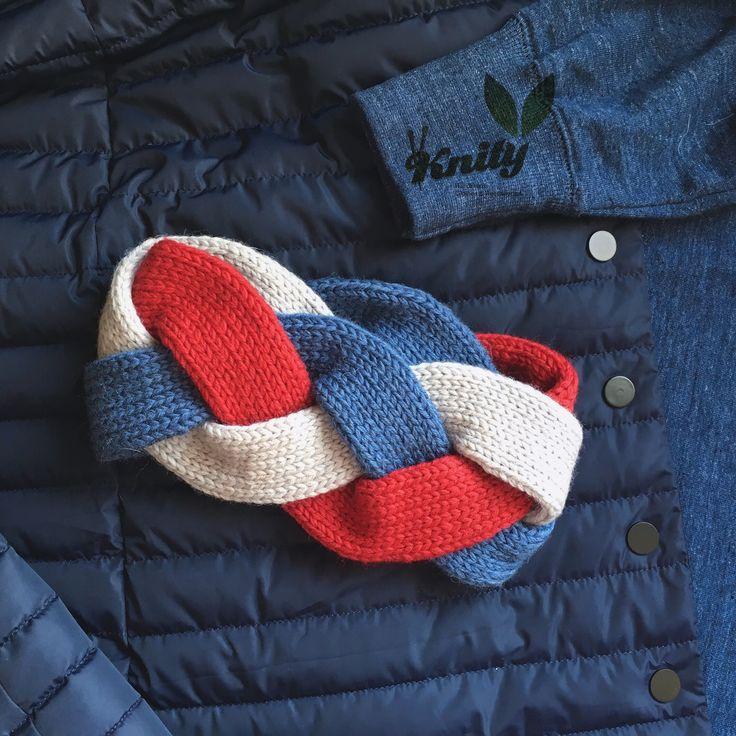 Beautiful woman headband braid three colors, red, blue jeans and gray. Made from merino yarn.