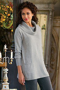 Weekend Escape Pullover  Wherever the weekend takes you, be sure to pack this awesomely soft and cozy pullover with a generous rib-knit collar to style as you please, plus pat