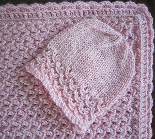 ... Pattern Preemie Hat and Blanket Waves With Crochet Border ( with 4 PLY