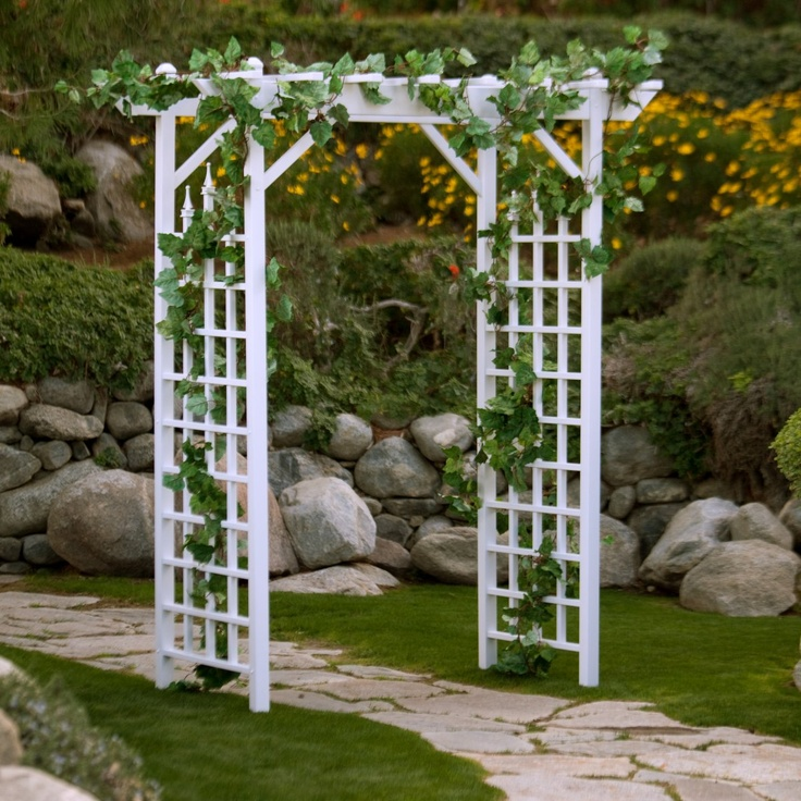 Dura-Trel Camelot 7-ft. Vinyl Pergola Arbor $197.98  for over the back door