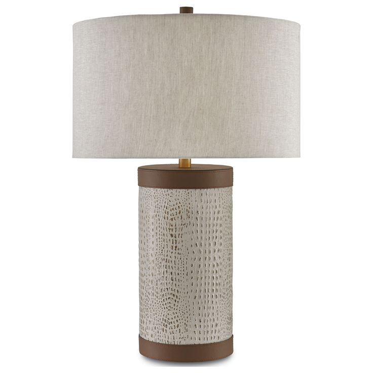 Currey and company baptiste ivory brown brushed brass table lamp with drum shade at destination lighting
