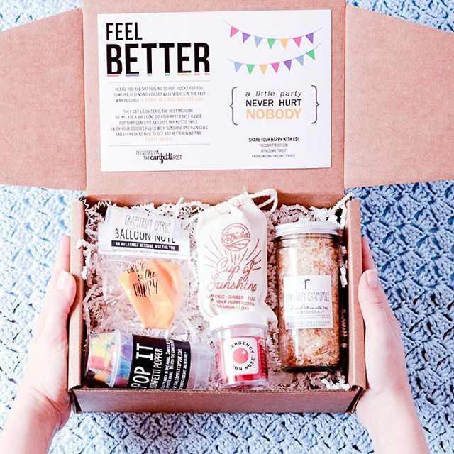 Get well gift package filled with so many fun and practical goodies to cheer someone up and get them to feel better.