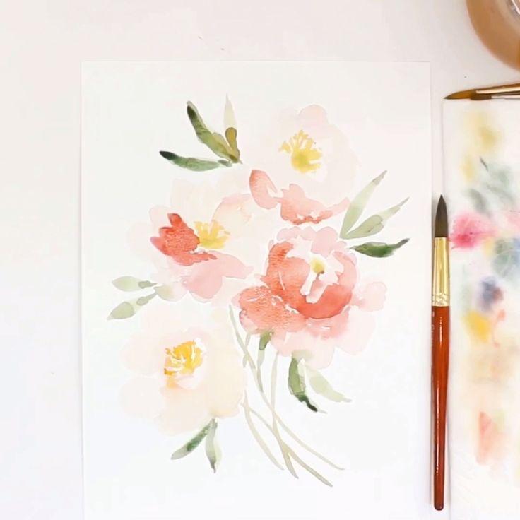 Loose Watercolor Flowers Loose Watercolor Floral Botanical Print