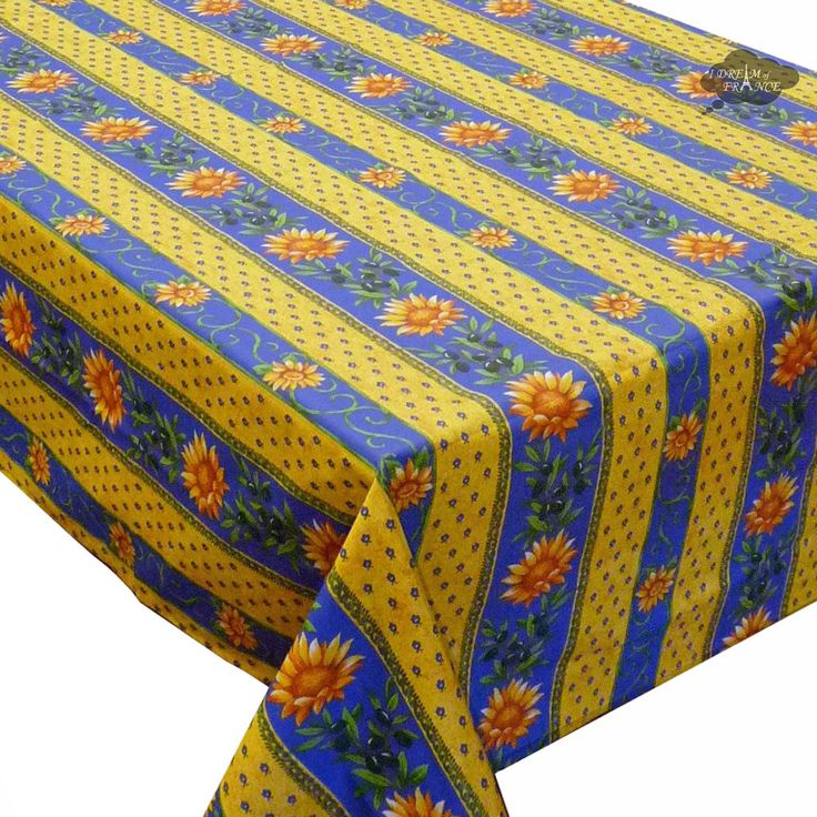 Beautiful X Rectangular Sunflower Blue Cotton Coated Provence Tablecloth By  Le Cluny With Set De Table Boutis Provencal.