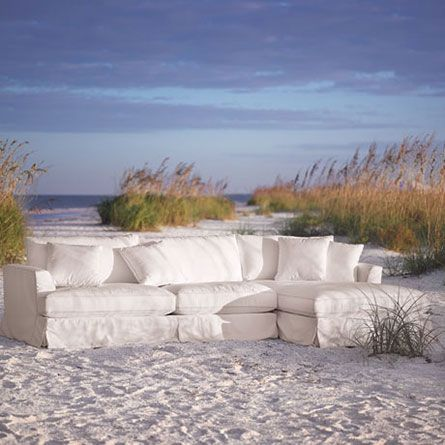Emory 134 Two Piece Slipcovered Sectional In Deso Snow