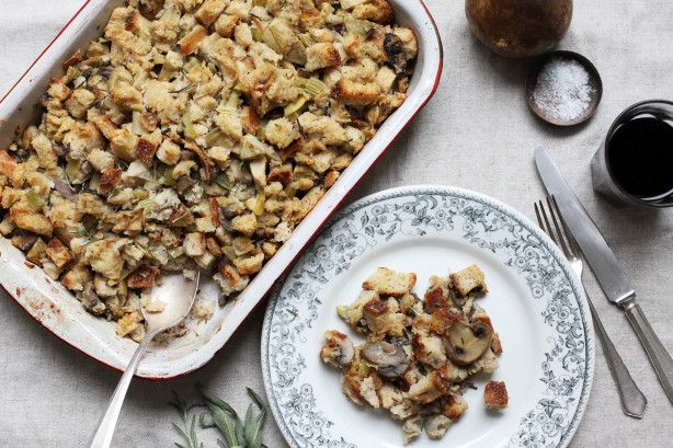 This comes from Sunset Magazine most requested Thanksgiving Recipes, created by Leslie Parsons in 1994. Up to 1 day ahead, make stuffing, put in casserole, cover and chill. Allow about 1 hour to bake.