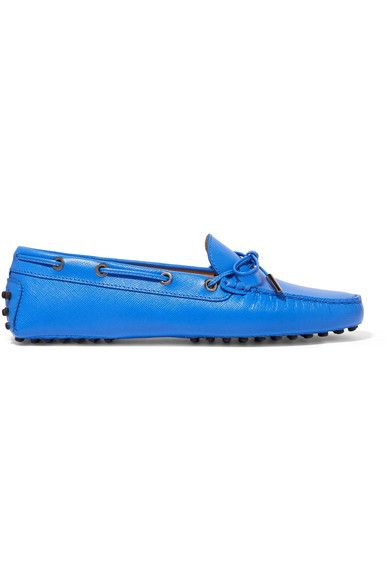 Tod's - Gommino Textured-leather Loafers - Storm blue - IT35.5