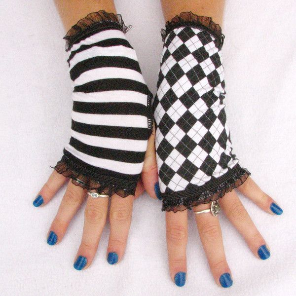 Mismatched Lolita fingerless gloves black and white stripes and... ($16) ❤ liked on Polyvore