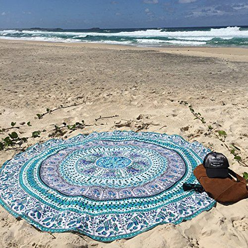 White Multi Birds Elephant Mandala Round Beach Towel Roundie Yoga Mat on RoyalFurnish.com, $19.99