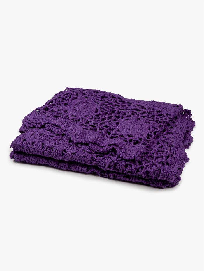 AURA Crochet Throw in Grape, available at Forty Winks