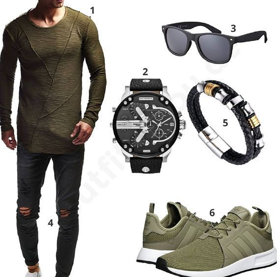 Schwarz-Olives Herren-Outfit mit XXL-Uhr (m0363) #outfit #style #fashion #inspiration #womenswear #womensoutfit #womenwear #womensstyle #damenmode #frauenmode #mode #styling #schuhe #sneaker #dress #summerstyle