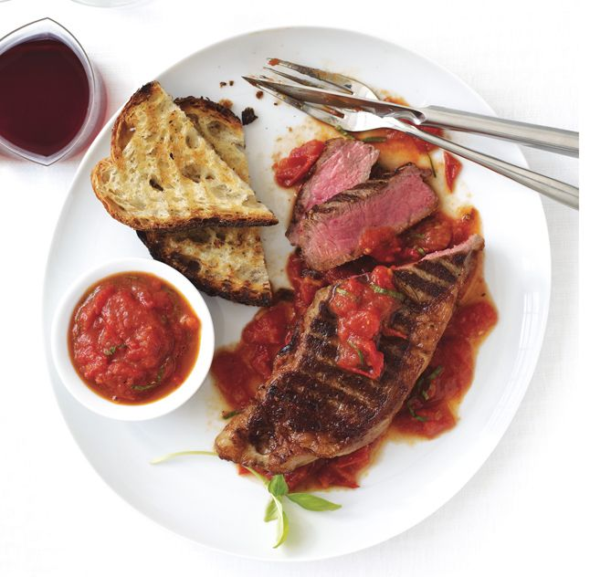 Grilled New York Steaks with San Marzano Sauce - Bon Appétit