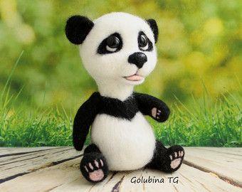 Needle felting wool panda gifts bear animal plushie handmade cute panda kawaii lover gift sculpture panda toy black and white gift for her
