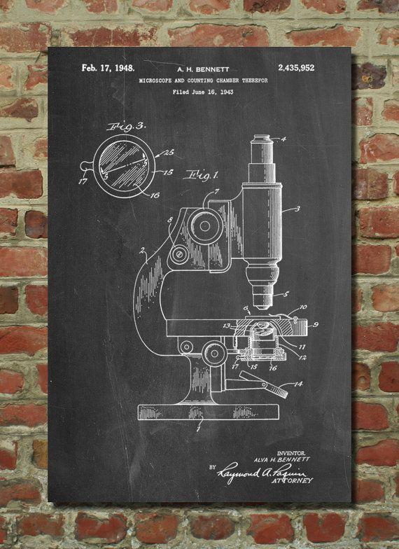 Antique Microscope Patent Poster, Pharmacy Gift, Science ...
