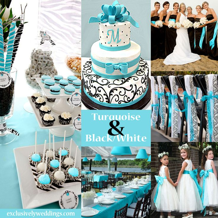 Black White and Turquoise Wedding Color Scheme Flowers WeddingCenterpieces