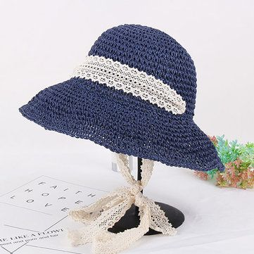 Women Summer Elegant Floppy Beach Straw Hat Wide Brim UV Protection Bucket Cap