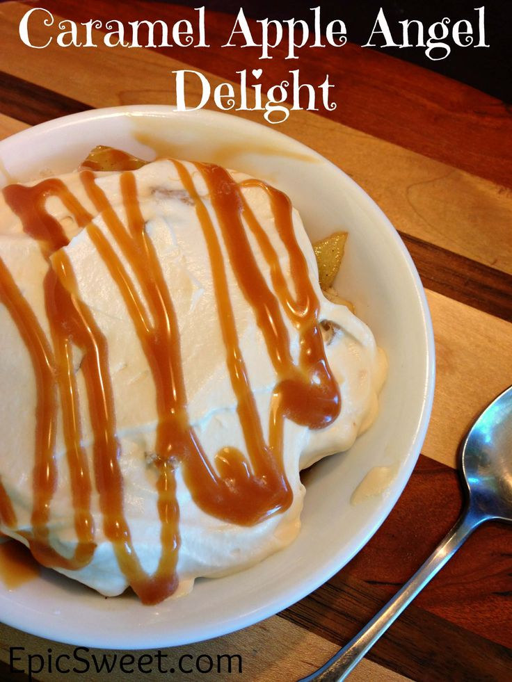 Caramel Apple Angel Delight: this dessert is certainly a delight, it is rich and full of fall flavors! Perfect for your Thanksgiving day dessert!