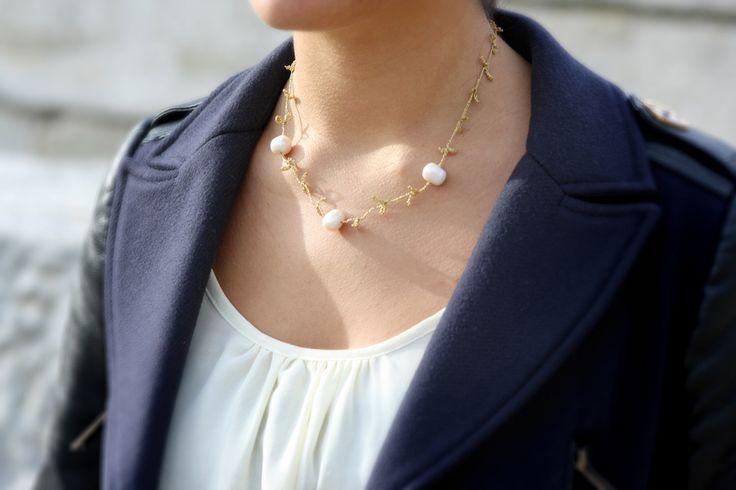 Collar trama crochet 3 perlas - Crochet necklace - Suka for www.dooc.eu