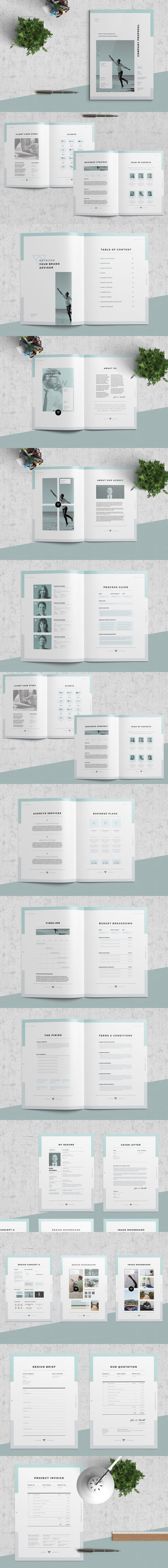 Clean and Professional Proposal Template InDesign INDD - Proposal (20 pages), Resume, Covering Letter, Brief, Quotation / Estimate,  Invoice - Templates. A4 and US Letter
