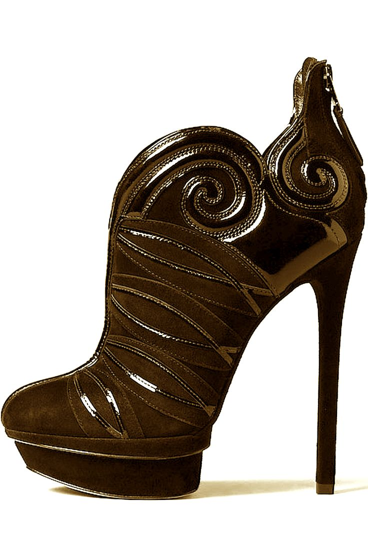 Brown suede patin leather booties. Short boots. Ankle high boots. Spike Heel. Brown Platform boots.Brian Atwood