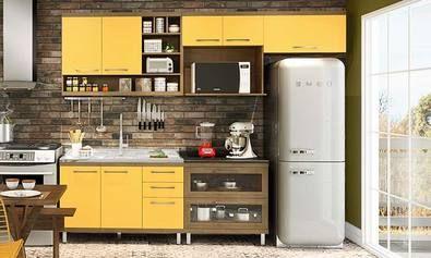 Cozinha Modulada Completa 5 Módulos Nobre/Amarelo/Avelã/Maracujá - Caaza | Lojas KD