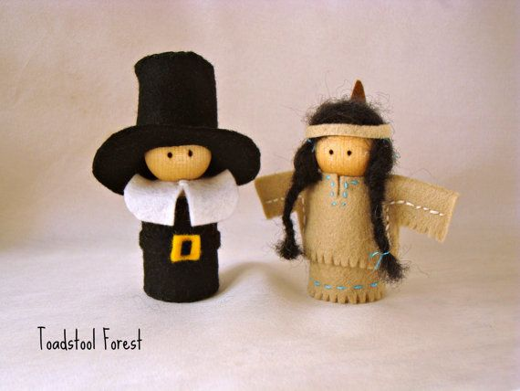 Waldorf Inspired Pligrim and Native American Peg Dolls ~ Fall Dolls ~ Thanksgiving Dolls