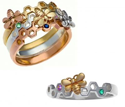 Beautiful honeycomb bands can be set with vibrant birthstones to represent loved-ones. You can also choose to add an elegant bee to the ring in the same or different metal.  or create a wonderful family keepsake that can be shared with a ring for each child
