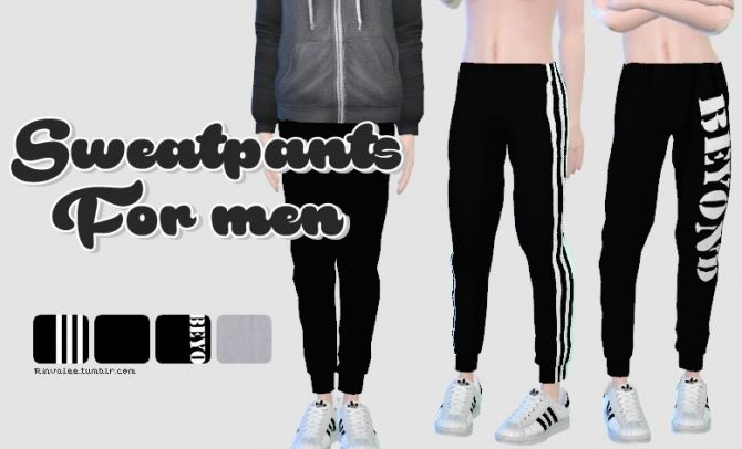 Sims 4 Updates: Rinvalee - Clothing, Male : Sweatpants for men, Custom Content Download!
