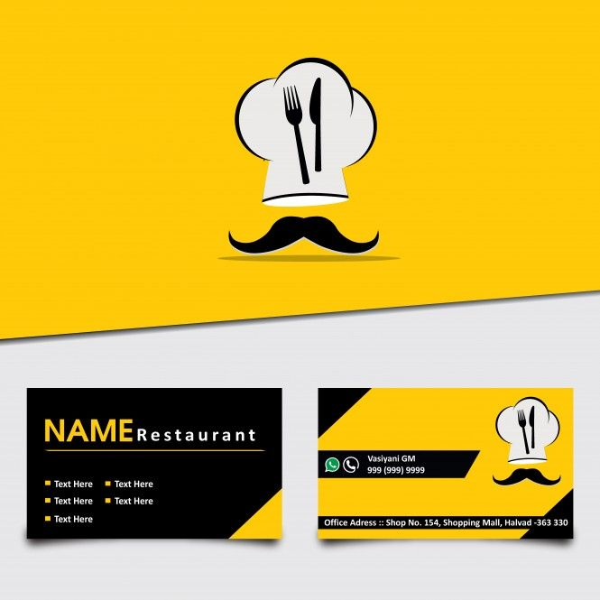 Yellow Color Restaurant Visiting Card Vector Template