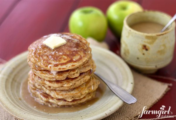 apple oatmeal pancakes with caramel buttermilk syrup