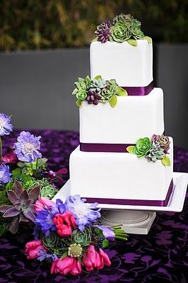 Succulent Wedding Cake, possibly changing the theme a little.. I'm loving this deep purple with the succulents, but still love lavender!