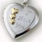 """Our White Gold Heart Shaped Locket hand engraved with """"I Love You"""" on the front"""