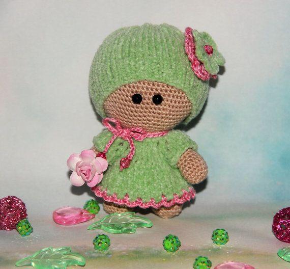 Handmade Doll in green dress amigurumi doll Plush Doll Toy