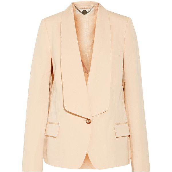 Stella McCartney Lydia cotton and silk-blend blazer ($765) ❤ liked on Polyvore featuring outerwear, jackets, blazers, cream, stella mccartney blazer, stella mccartney jacket, cream jacket, beige blazer and blazer jacket