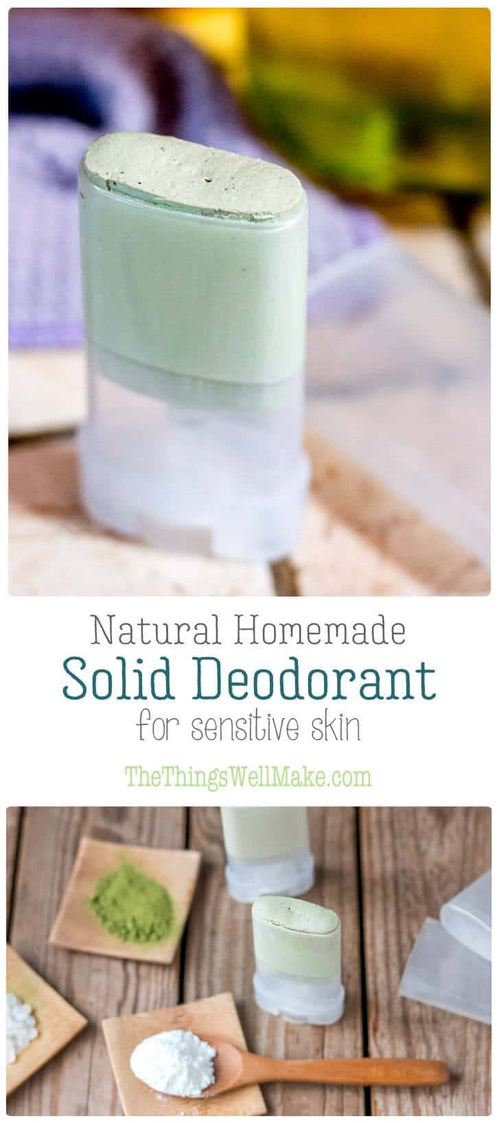 Soothing, yet effective, this natural homemade deodorant stick works without baking soda nor coconut oil, and uses zinc to help combat odors for those with sensitive skin. via @thethingswellmake